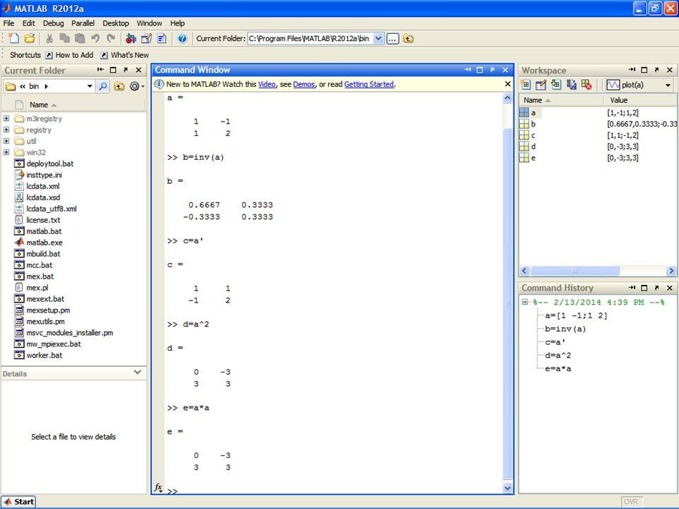 Operatörler (kolon operatörü) >>a=[1,2,3;4,5,6]; >>a(2,:)=0 a= 1 2 3 0 0 0 >>a(:,1)=10 a= 10 2 3 10 0 0 çok değer atam >>a=1:10; a= 1 2 3 4 5 6 7 8 9 10 >>b=[1:2:6;2:3:10;3:5:13] b= 1 3 5 2 5 8 3 8 13 >>c=a(3:end-4) c= 3 4 5 6 matris oluşturma