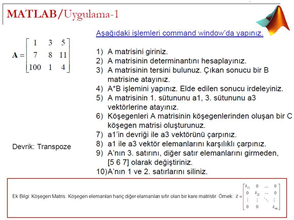 Ek Bilgi: Köşegen Matris: Köşegen elemanları hariç diğer elamanları sıfır olan bir kare matristir.