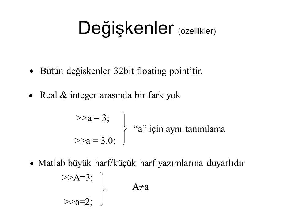 Değişkenler (özellikler) Bütün değişkenler 32bit floating point'tir.