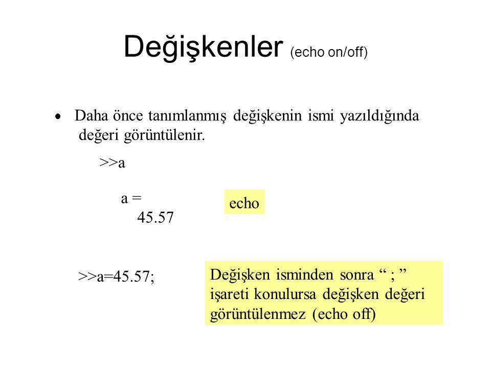 Değişkenler (echo on/off) Daha önce tanımlanmış değişkenin ismi yazıldığında değeri görüntülenir.