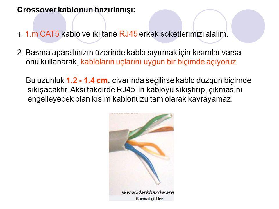 Crossover kablonun hazırlanışı: 1. 1.m CAT5 kablo ve iki tane RJ45 erkek soketlerimizi alalım.