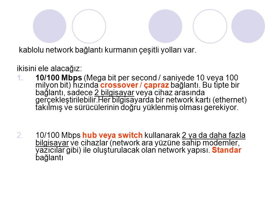 kablolu network bağlantı kurmanın çeşitli yolları var.
