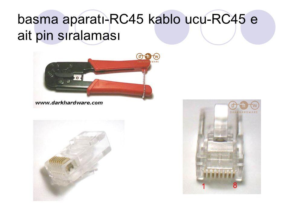 basma aparatı-RC45 kablo ucu-RC45 e ait pin sıralaması