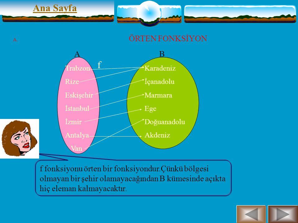 Ana Sayfa A B f Trabzon Rize Eskişehir Van Karadeniz İçanadolu Doğuanadolu ÖRTEN FONKSİYON A kümesi şehirlerden B kümesi bölgelerden oluşan bir küme olsun.