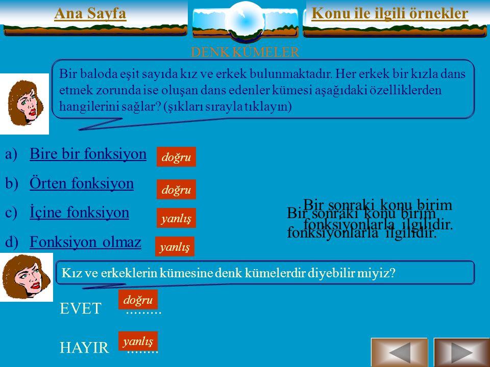 Ana Sayfa DENK KÜMELER A ve B boştan farklı iki küme olsun.