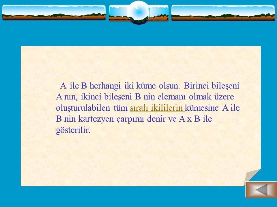 A ve B boş olmayan iki küme olmak üzere, A x B nin her alt kümesine A dan B ye bir ikili bağıntı denir.