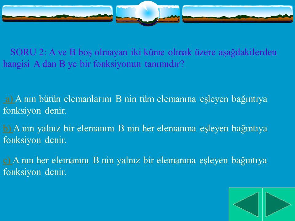 SORU 1: Aşağıdaki ifadelerden hangisi doğrudur.a) Her bağıntı bir fonksiyondur.