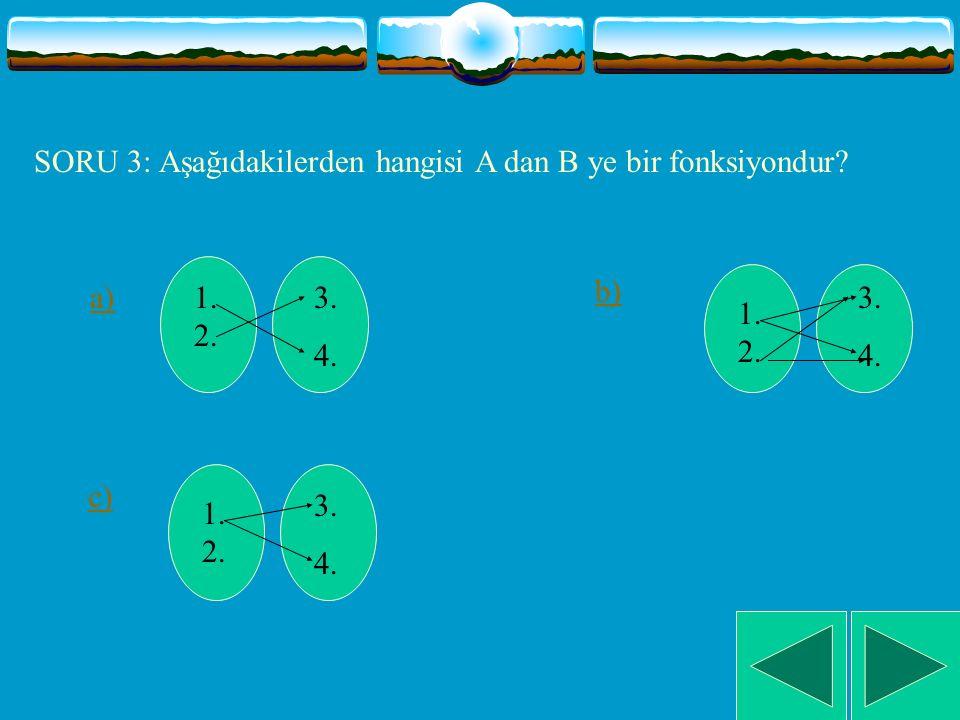 SORU 2: A ve B boş olmayan iki küme olmak üzere aşağdakilerden hangisi A dan B ye bir fonksiyonun tanımıdır.