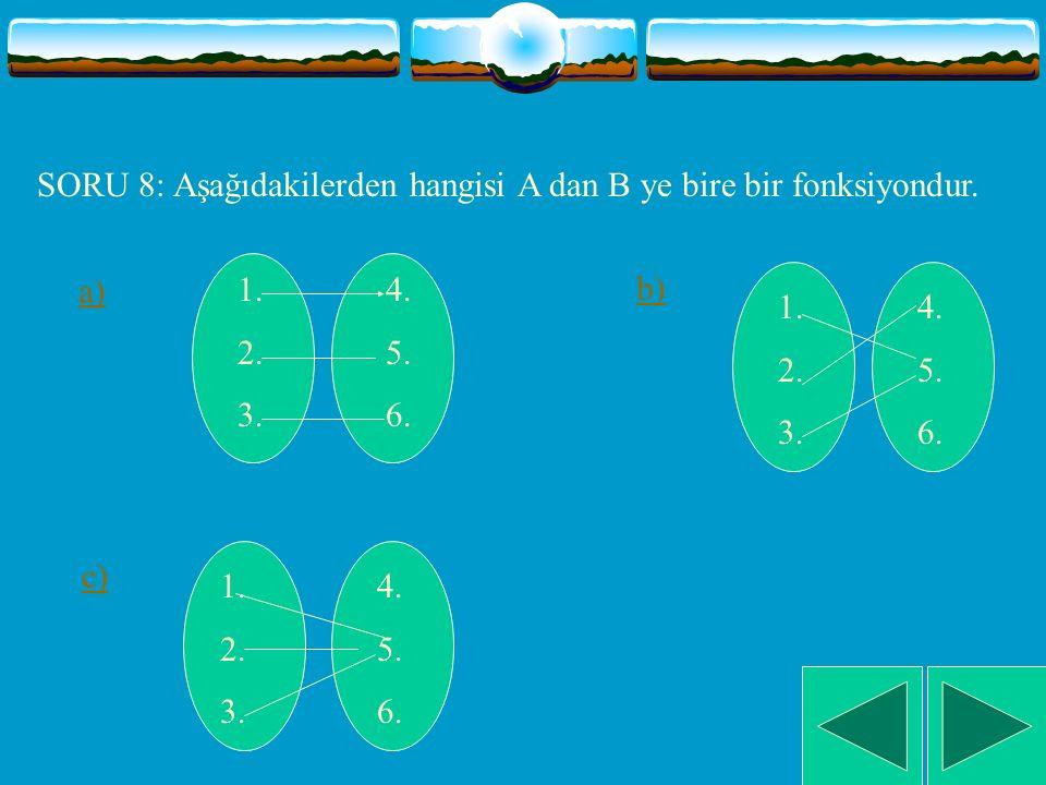 SORU 7: ise aşağıdaki grafiklerden hangisi bu fonksiyonun grafiği olamaz. a) b) c) 4 4 4