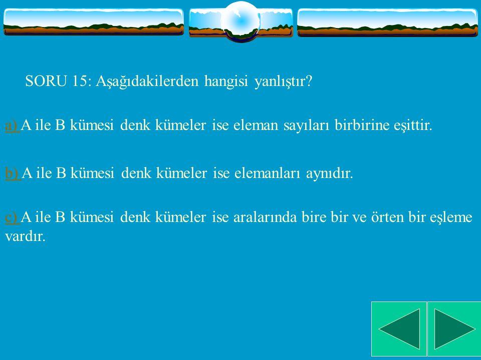 SORU 14: Aşağıdaki fonksiyonlardan hangisinde A kümesi ile B kümesi denk kümelerdir.