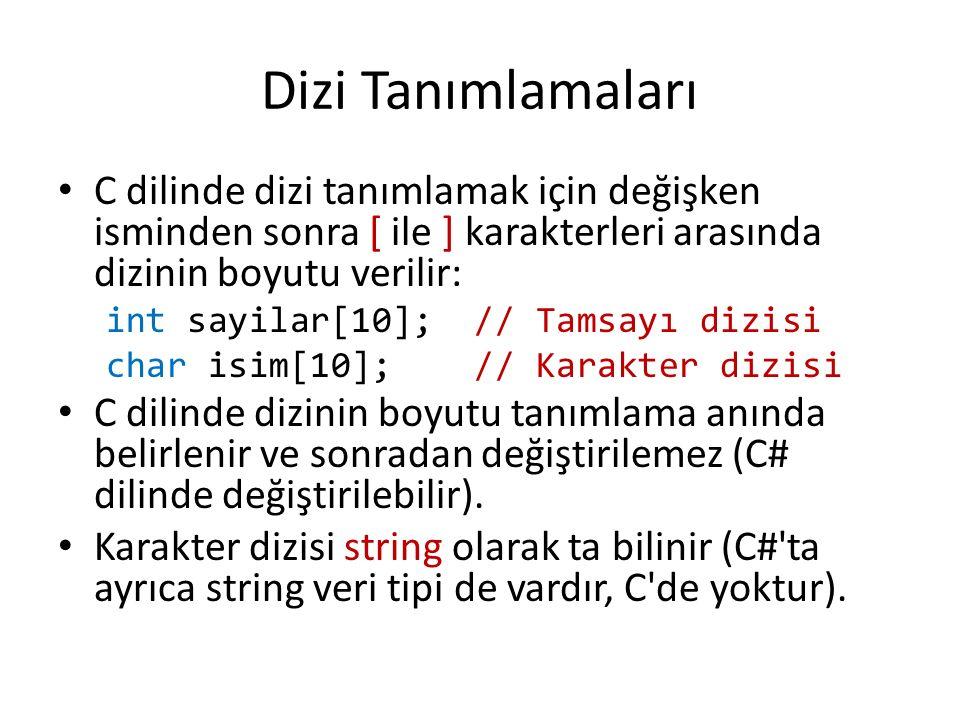 Dizilerde İndis Kullanımı Dizilerin ilk elemanının indisi sıfırdır: – Önceki slaytta tanımladığımız sayılar dizisinin son elemanı sayilar[9] olacağı için, eğer sayilar[10] 'a değer atanırsa derleme sırasında hata vermez, fakat program çalışırken hatalı bir sonuç üretebilir (çünkü 11.