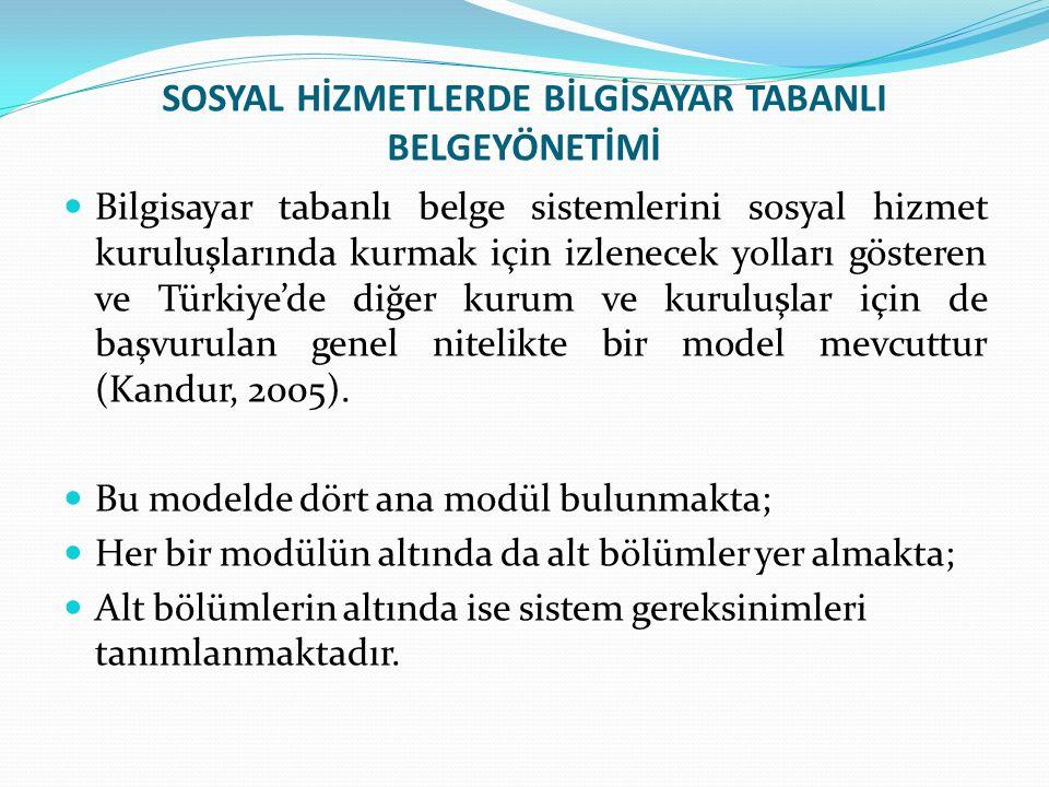 SOSYAL HİZMETLERDE BİLGİSAYAR TABANLI BELGEYÖNETİMİ Bilgisayar tabanlı belge sistemlerini sosyal hizmet kuruluşlarında kurmak için izlenecek yolları gösteren ve Türkiye'de diğer kurum ve kuruluşlar için de başvurulan genel nitelikte bir model mevcuttur (Kandur, 2005).