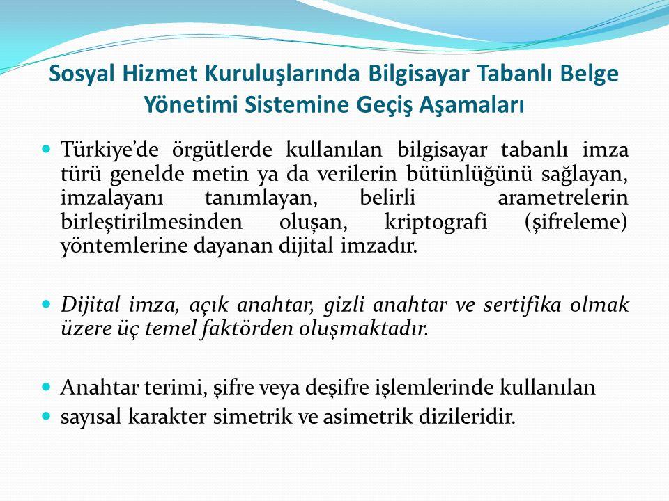 Sosyal Hizmet Kuruluşlarında Bilgisayar Tabanlı Belge Yönetimi Sistemine Geçiş Aşamaları Türkiye'de örgütlerde kullanılan bilgisayar tabanlı imza türü genelde metin ya da verilerin bütünlüğünü sağlayan, imzalayanı tanımlayan, belirli arametrelerin birleştirilmesinden oluşan, kriptografi (şifreleme) yöntemlerine dayanan dijital imzadır.