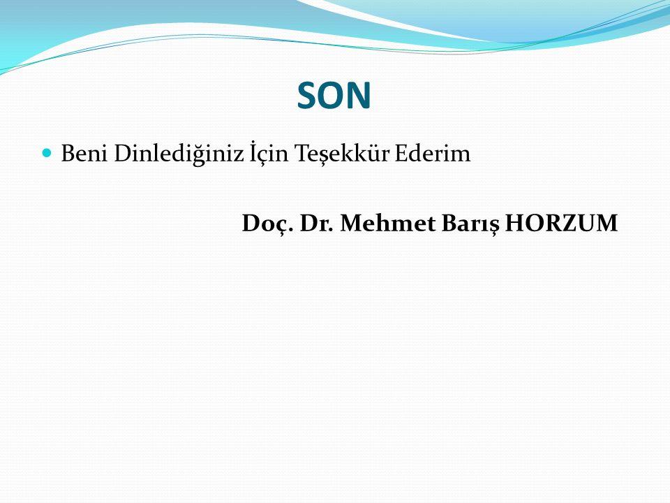 SON Beni Dinlediğiniz İçin Teşekkür Ederim Doç. Dr. Mehmet Barış HORZUM