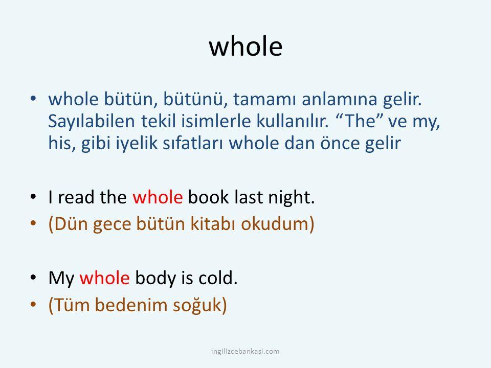 """whole whole bütün, bütünü, tamamı anlamına gelir. Sayılabilen tekil isimlerle kullanılır. """"The"""" ve my, his, gibi iyelik sıfatları whole dan önce gelir"""
