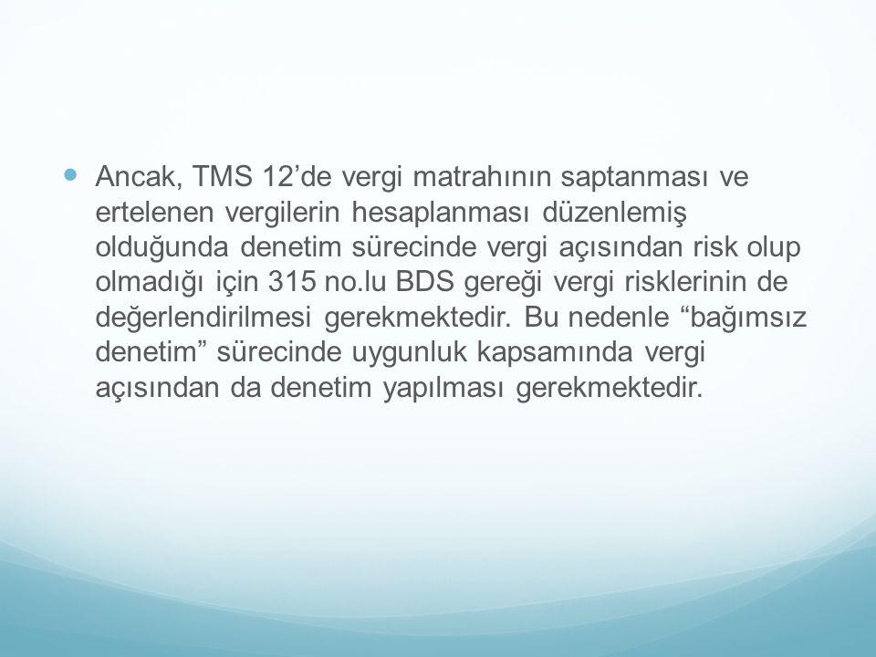 Ancak, TMS 12'de vergi matrahının saptanması ve ertelenen vergilerin hesaplanması düzenlemiş olduğunda denetim sürecinde vergi açısından risk olup olm