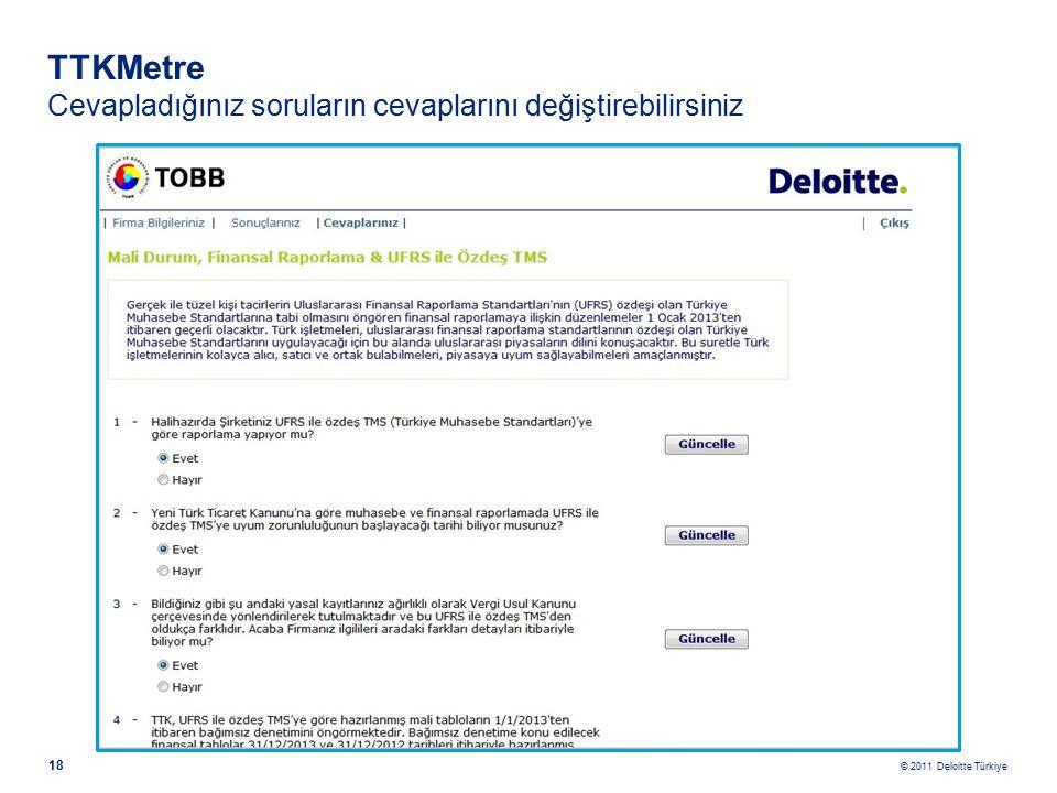 © 2011 Deloitte Türkiye 18 TTKMetre Cevapladığınız soruların cevaplarını değiştirebilirsiniz
