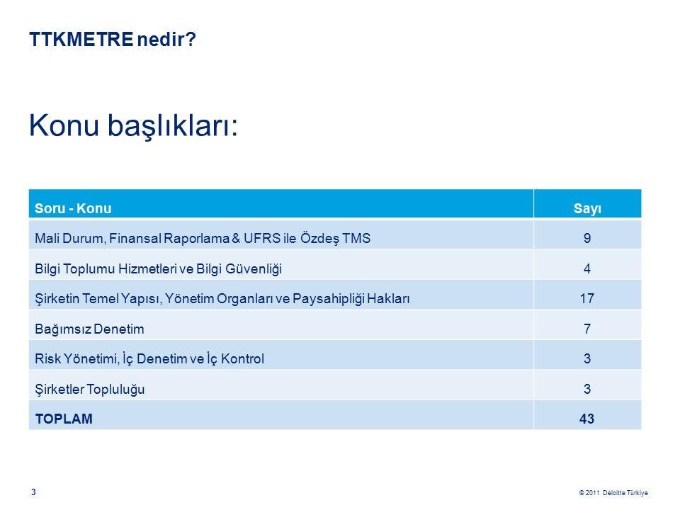 © 2011 Deloitte Türkiye 14 TTKMetre Sonuç sayfası