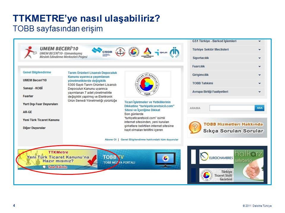 © 2011 Deloitte Türkiye 4 TTKMETRE'ye nasıl ulaşabiliriz TOBB sayfasından erişim