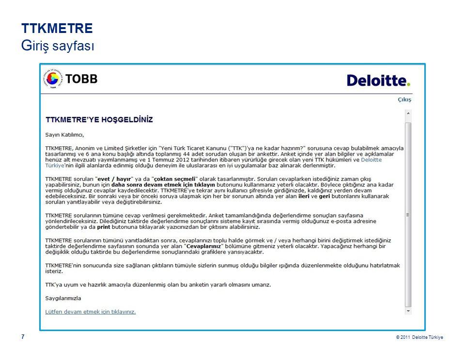 © 2011 Deloitte Türkiye 7 TTKMETRE G iriş sayfası