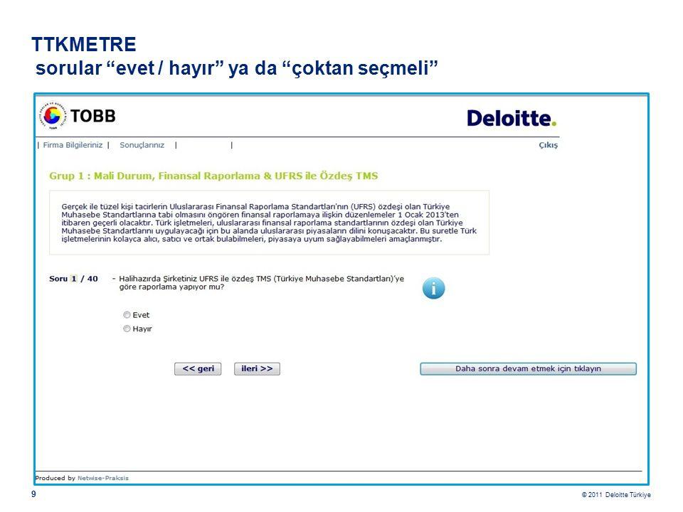 © 2011 Deloitte Türkiye 9 TTKMETRE sorular evet / hayır ya da çoktan seçmeli