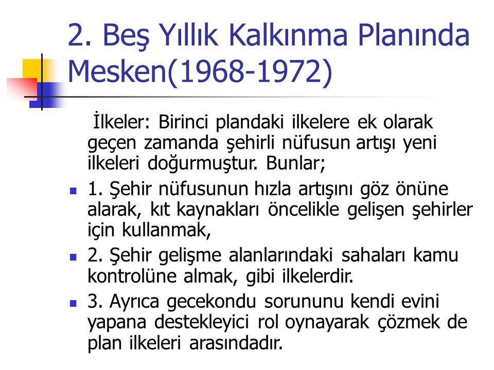 2. Beş Yıllık Kalkınma Planında Mesken(1968-1972) İlkeler: Birinci plandaki ilkelere ek olarak geçen zamanda şehirli nüfusun artışı yeni ilkeleri doğu