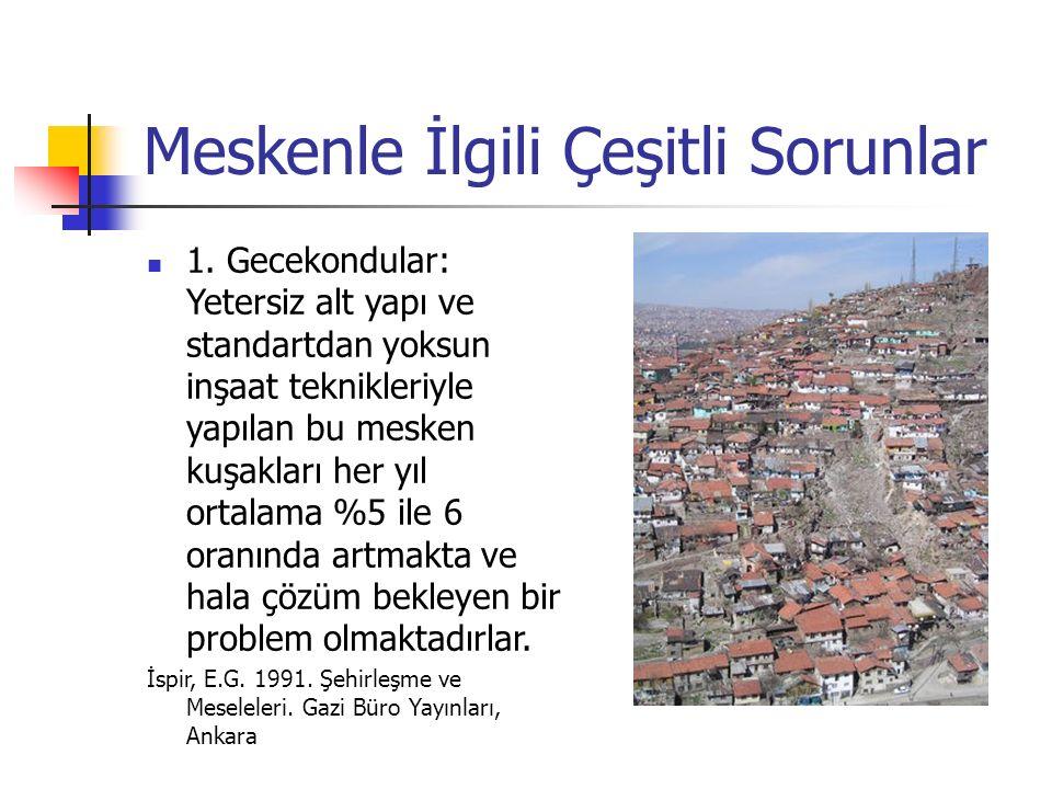 1.Beş Yıllık Kalkınma Planında Mesken(1963-1967) Ortaya Konan Sorunlar: 1.