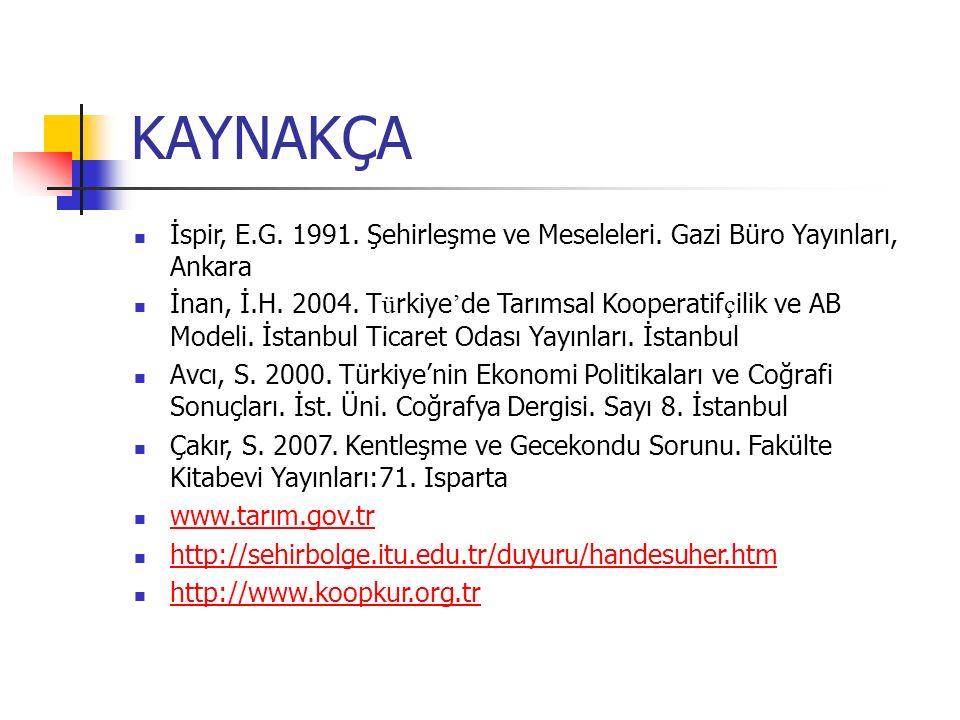 KAYNAKÇA İspir, E.G. 1991. Şehirleşme ve Meseleleri. Gazi Büro Yayınları, Ankara İnan, İ.H. 2004. T ü rkiye ' de Tarımsal Kooperatif ç ilik ve AB Mode