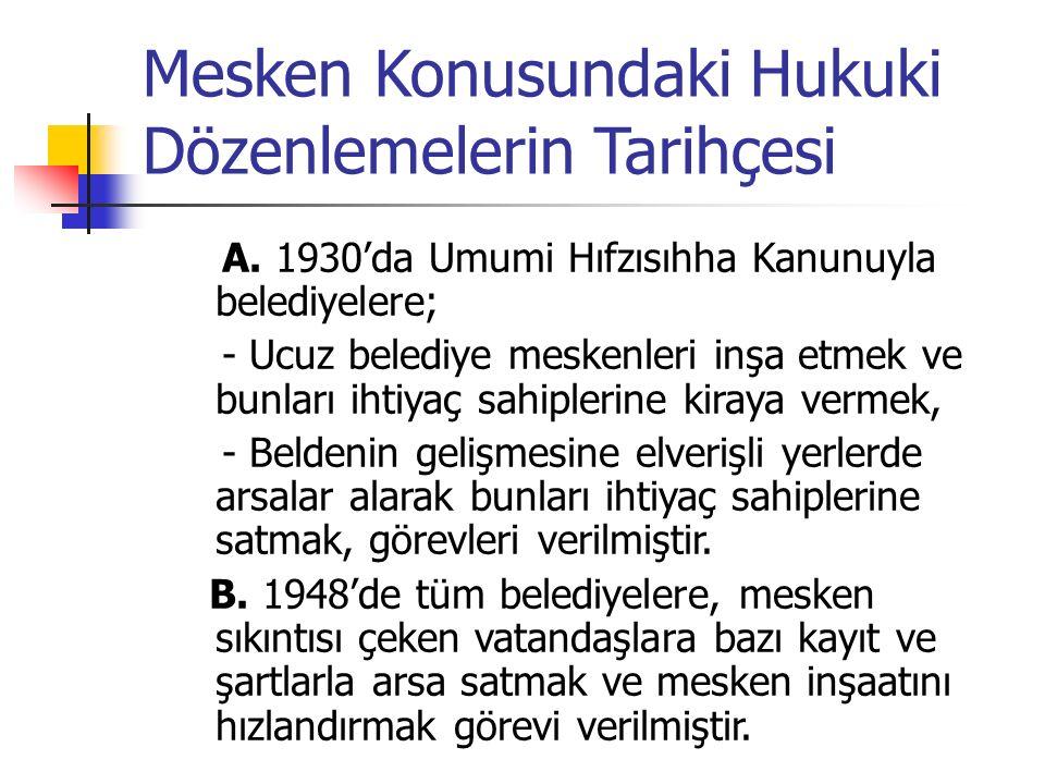 Mesken Konusundaki Hukuki Dözenlemelerin Tarihçesi A. 1930'da Umumi Hıfzısıhha Kanunuyla belediyelere; - Ucuz belediye meskenleri inşa etmek ve bunlar