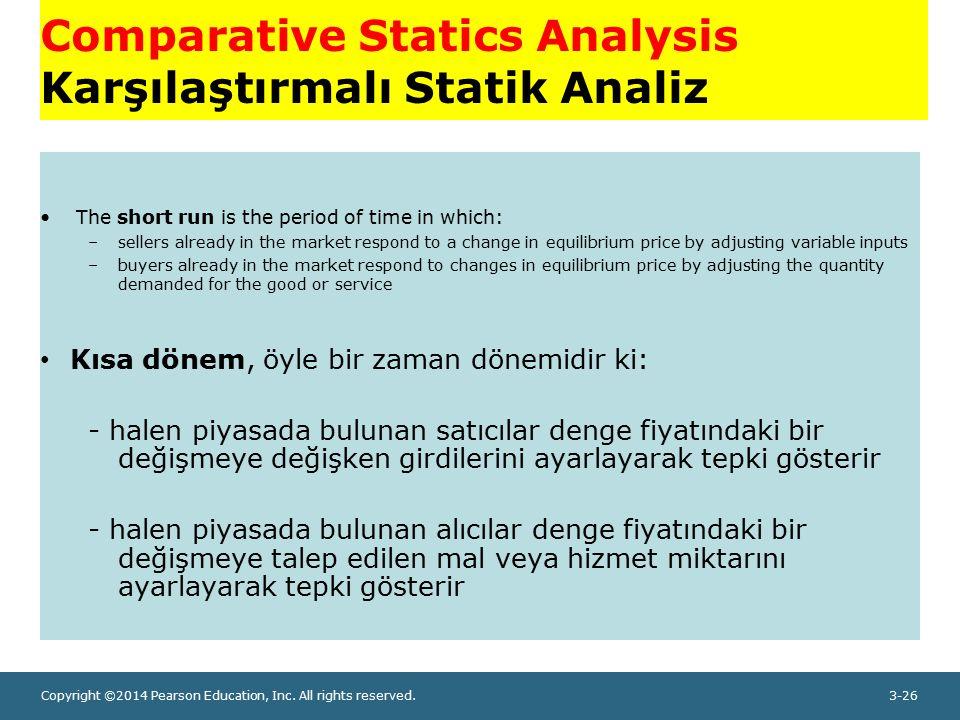 Copyright ©2014 Pearson Education, Inc. All rights reserved.3-26 Comparative Statics Analysis Karşılaştırmalı Statik Analiz The short run is the perio