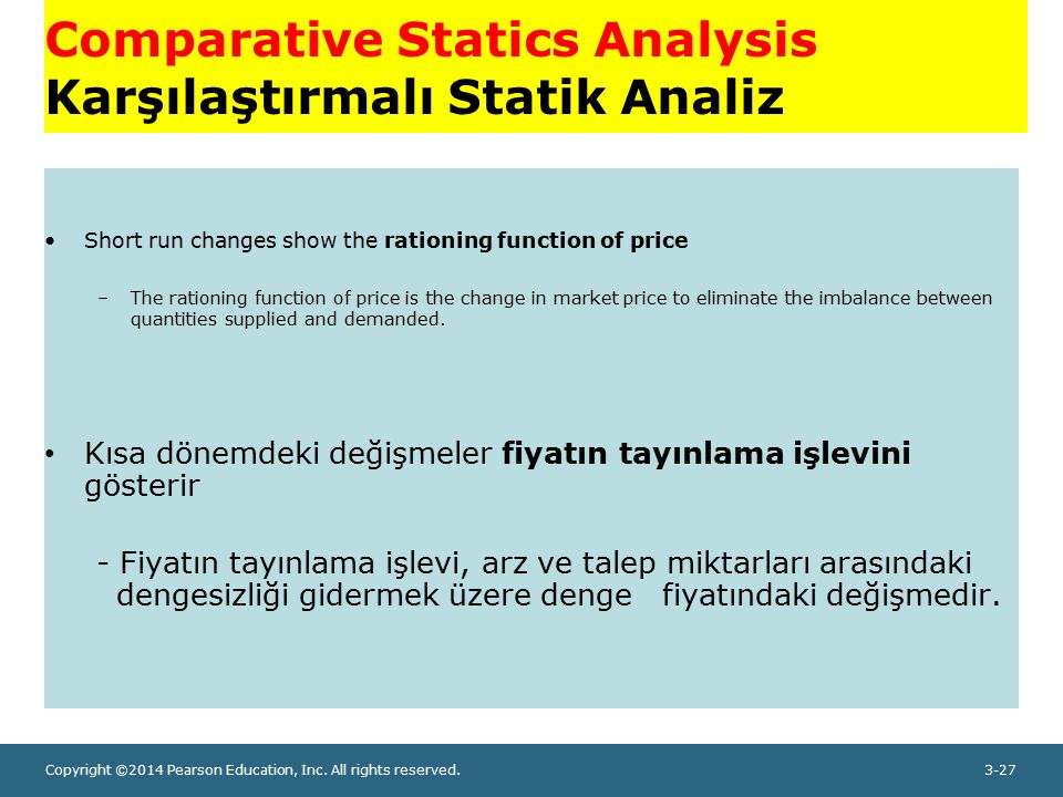 Copyright ©2014 Pearson Education, Inc. All rights reserved.3-27 Comparative Statics Analysis Karşılaştırmalı Statik Analiz Short run changes show the