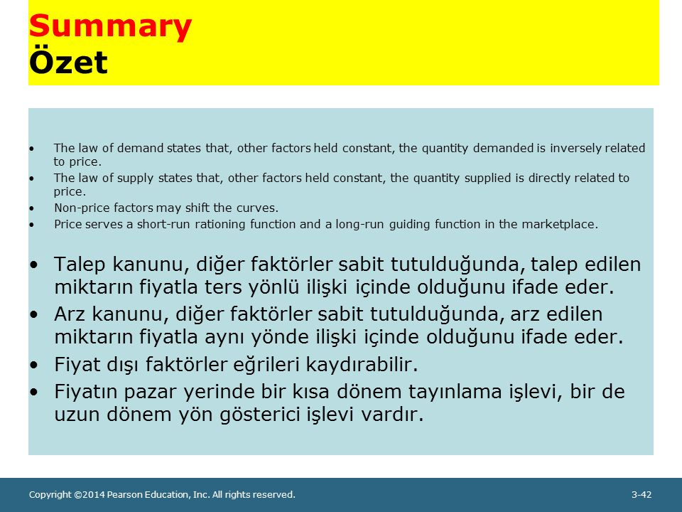 Copyright ©2014 Pearson Education, Inc. All rights reserved.3-42 Summary Özet The law of demand states that, other factors held constant, the quantity