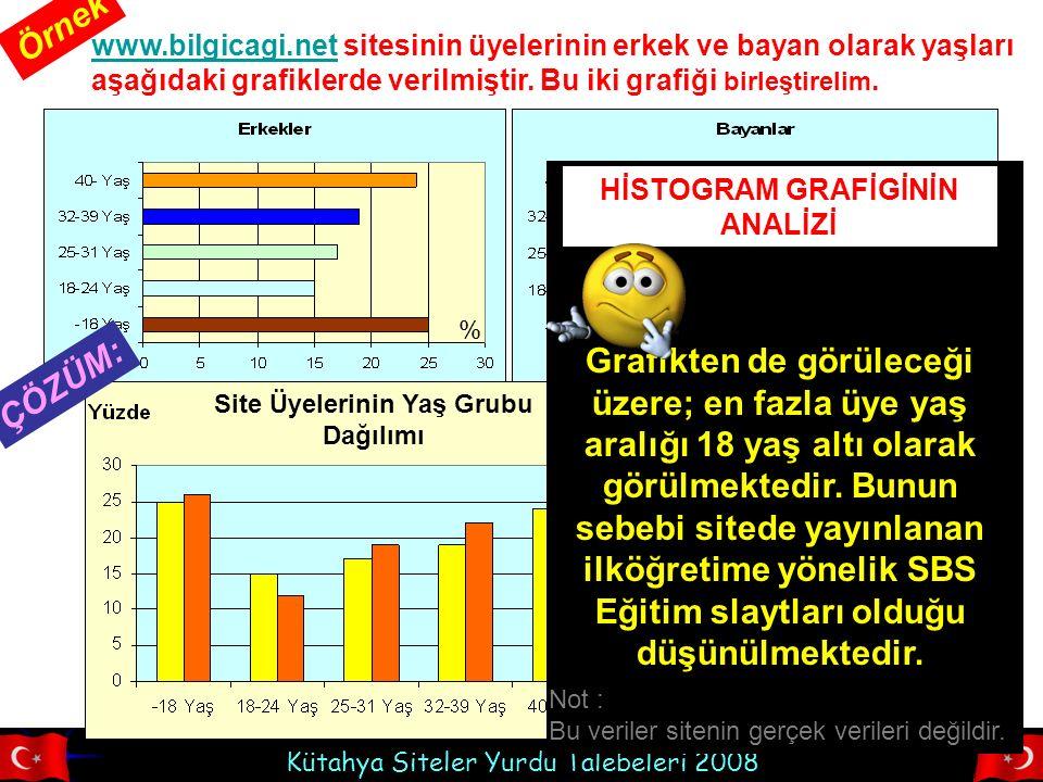 Kütahya Siteler Yurdu Talebeleri 2008 www.bilgicagi.netwww.bilgicagi.net sitesinin üyelerinin erkek ve bayan olarak yaşları aşağıdaki grafiklerde veri