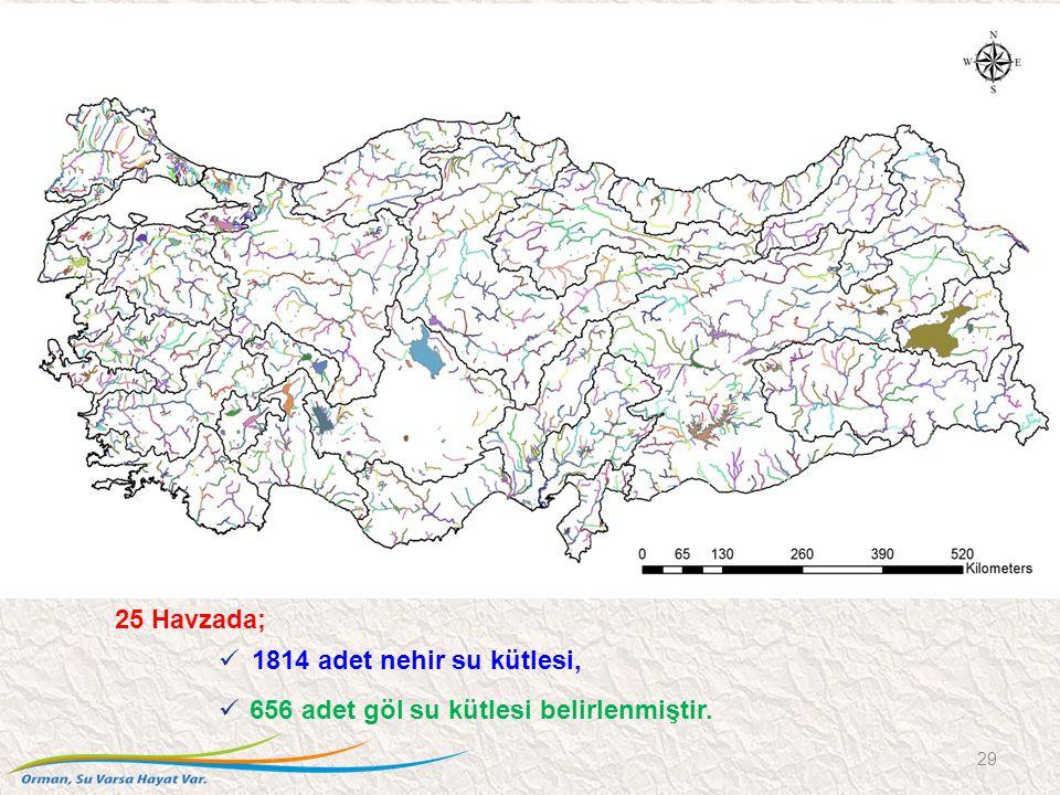 25 Havzada; 1814 adet nehir su kütlesi, 656 adet göl su kütlesi belirlenmiştir. 29