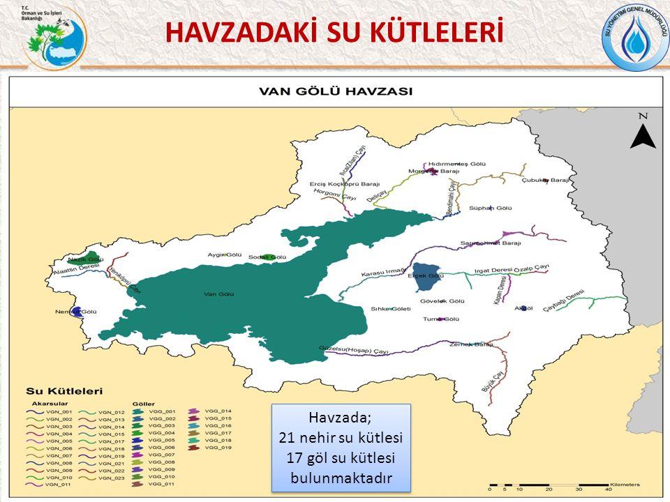 HAVZADAKİ SU KÜTLELERİ 38 Havzada; 21 nehir su kütlesi 17 göl su kütlesi bulunmaktadır Havzada; 21 nehir su kütlesi 17 göl su kütlesi bulunmaktadır