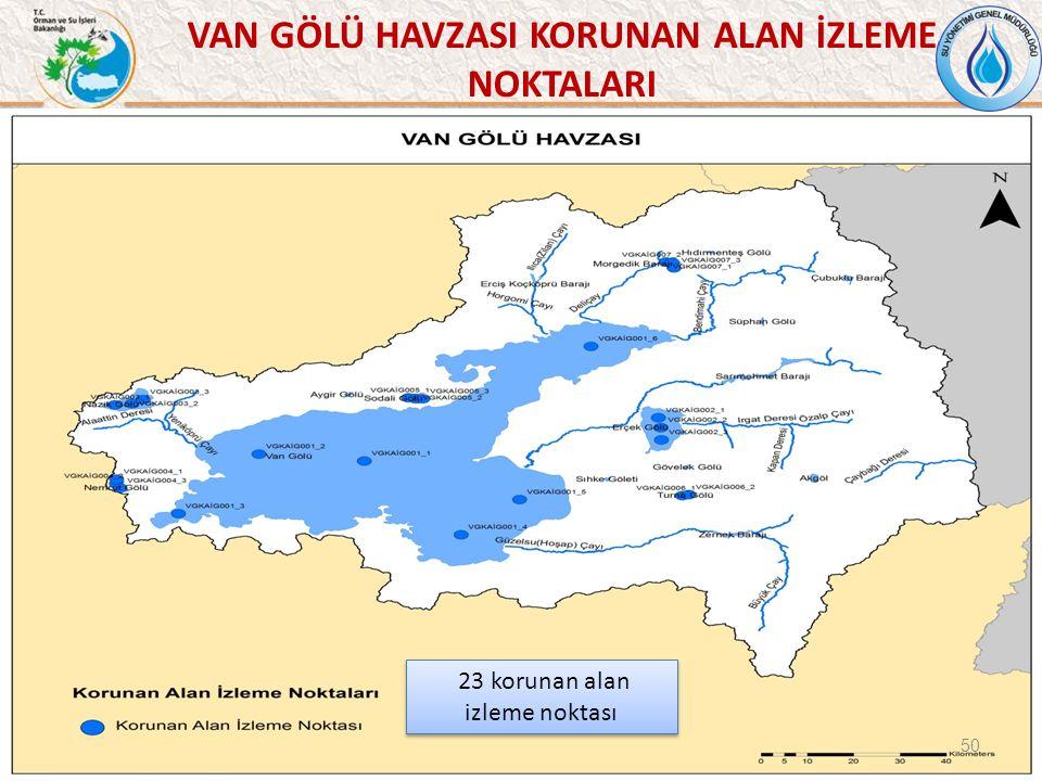 VAN GÖLÜ HAVZASI KORUNAN ALAN İZLEME NOKTALARI 50 23 korunan alan izleme noktası