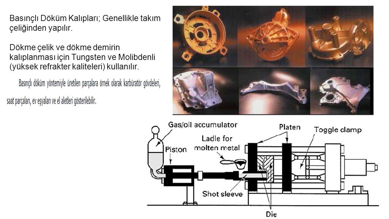 Basınçlı Döküm Kalıpları; Genellikle takım çeliğinden yapılır. Dökme çelik ve dökme demirin kalıplanması için Tungsten ve Molibdenli (yüksek refrakter