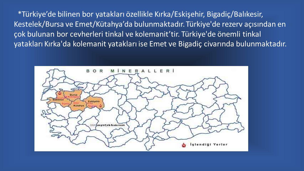 *Türkiye'de bilinen bor yatakları özellikle Kırka/Eskişehir, Bigadiç/Balıkesir, Kestelek/Bursa ve Emet/Kütahya'da bulunmaktadır. Türkiye'de rezerv açı