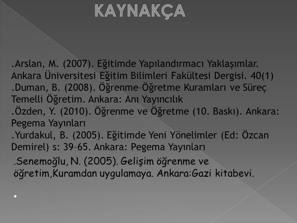 .Arslan, M. (2007). Eğitimde Yapılandırmacı Yaklaşımlar. Ankara Üniversitesi Eğitim Bilimleri Fakültesi Dergisi. 40(1).Duman, B. (2008). Öğrenme–Öğret