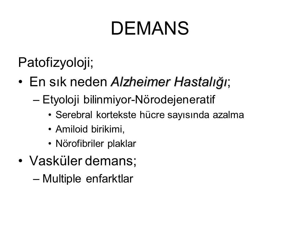 DEMANS Patofizyoloji; Alzheimer HastalığıEn sık neden Alzheimer Hastalığı; –Etyoloji bilinmiyor-Nörodejeneratif Serebral kortekste hücre sayısında aza