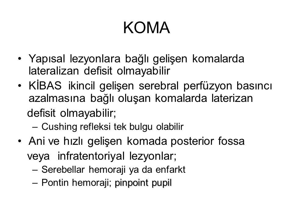KOMA Psödokoma ya da psikojenik koma; Normal FM bulguları Göz açmaya direnç Kalorik vestibüler testte nistagmus olması Muayene edenden uzaklaşan göz hareketleri