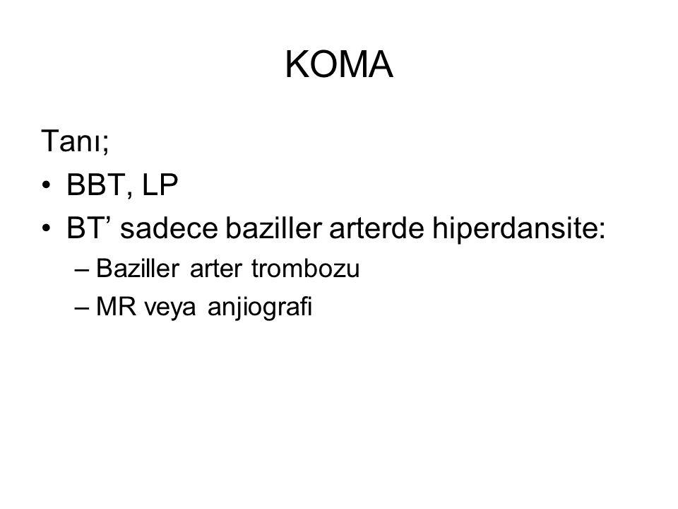 KOMA Tanı; BBT, LP BT' sadece baziller arterde hiperdansite: –Baziller arter trombozu –MR veya anjiografi