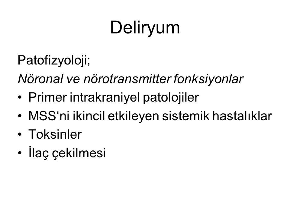 Deliryum Patofizyoloji; Nöronal ve nörotransmitter fonksiyonlar Primer intrakraniyel patolojiler MSS'ni ikincil etkileyen sistemik hastalıklar Toksinl