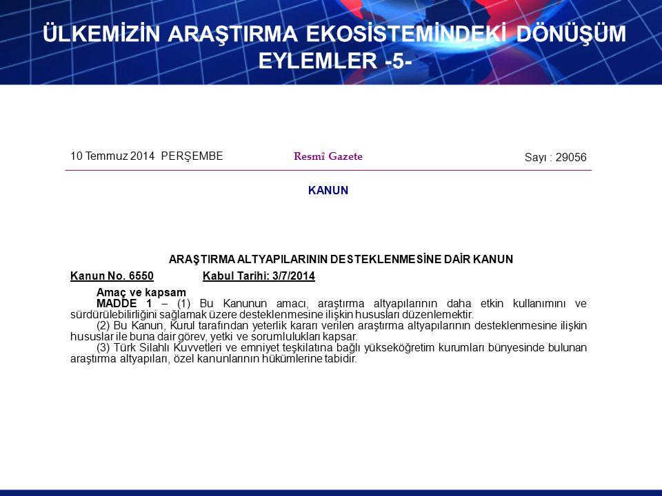 10 Temmuz 2014 PERŞEMBE Resmî Gazete Sayı : 29056 KANUN ARAŞTIRMA ALTYAPILARININ DESTEKLENMESİNE DAİR KANUN Kanun No.