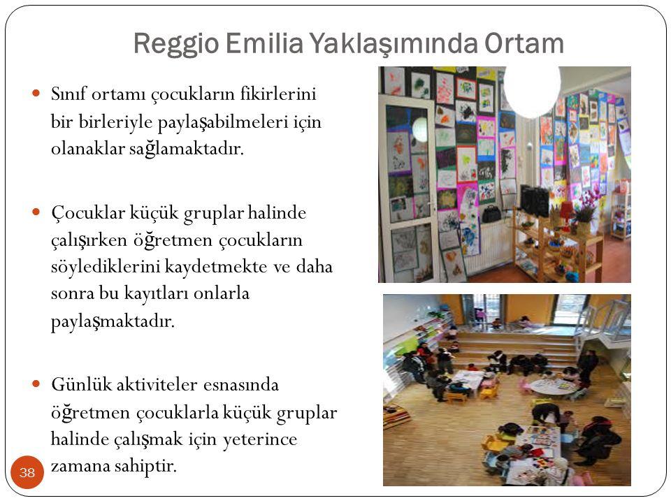 Reggio Emilia Yaklaşımında Ortam Sınıf ortamı çocukların fikirlerini bir birleriyle payla ş abilmeleri için olanaklar sa ğ lamaktadır.