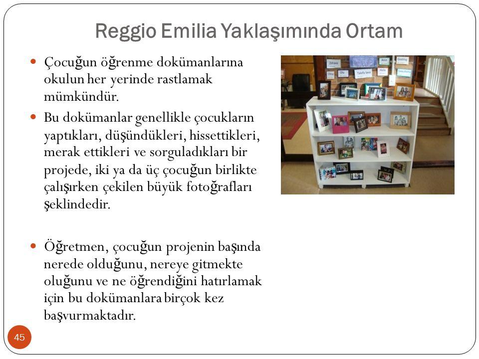 Reggio Emilia Yaklaşımında Ortam Çocu ğ un ö ğ renme dokümanlarına okulun her yerinde rastlamak mümkündür.