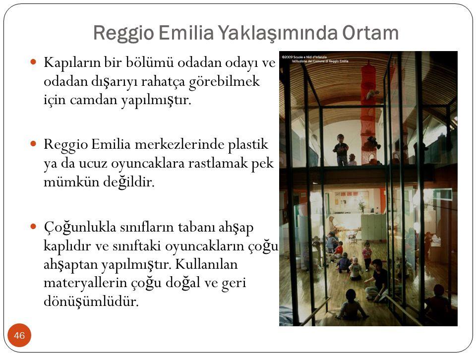 Reggio Emilia Yaklaşımında Ortam Kapıların bir bölümü odadan odayı ve odadan dı ş arıyı rahatça görebilmek için camdan yapılmı ş tır.