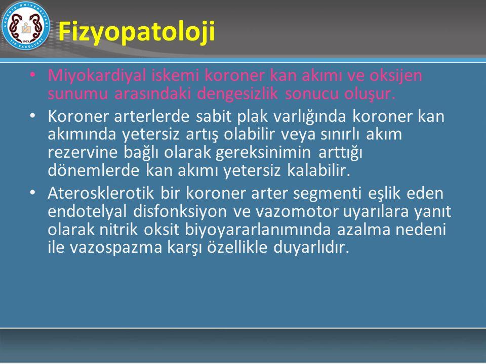 Fizyopatoloji Miyokardiyal iskemi koroner kan akımı ve oksijen sunumu arasındaki dengesizlik sonucu oluşur. Koroner arterlerde sabit plak varlığında k