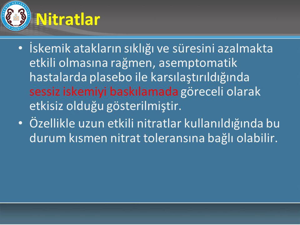 Nitratlar İskemik atakların sıklığı ve süresini azalmakta etkili olmasına rağmen, asemptomatik hastalarda plasebo ile karsılaştırıldığında sessiz iskemiyi baskılamada göreceli olarak etkisiz olduğu gösterilmiştir.