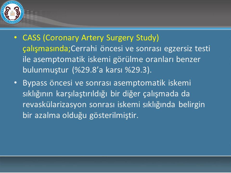 CASS (Coronary Artery Surgery Study) çalışmasında;Cerrahi öncesi ve sonrası egzersiz testi ile asemptomatik iskemi görülme oranları benzer bulunmuştur (%29.8'a karsı %29.3).